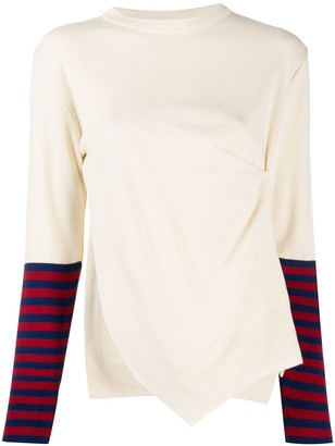 Rokh Striped-Sleeve Asymmetric Jumper