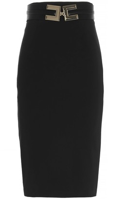 Elisabetta Franchi Logo Belt Midi Pencil Skirt