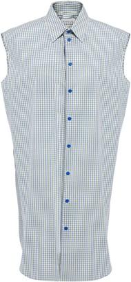 Maison Margiela Silver-tone Shell-trimmed Checked Cotton-poplin Shirt Dress
