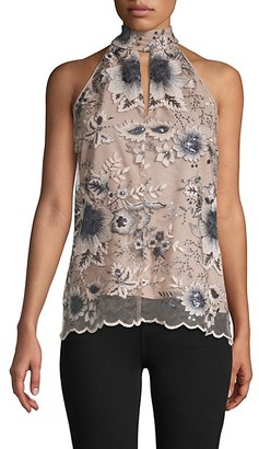 Supply & Demand Floral-Print Lace Halter Top