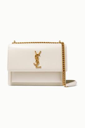 Saint Laurent Sunset Medium Leather Shoulder Bag - White