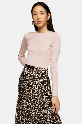 Topshop Womens Petite Pink Knitted Crew Neck Top - Pale Pink