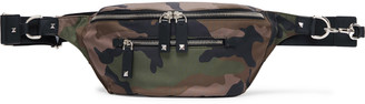 Valentino Leather-Trimmed Camouflage-Print Canvas Belt Bag