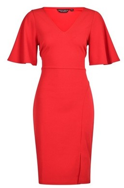 Dorothy Perkins Womens Red Flutter Sleeve Pencil Dress, Red