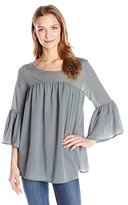 French Connection Women's Polly Plains Fluted Sleeve Top