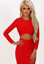 Pink Boutique Gangsta Boo Red Wrap Front Bandage Crop Top