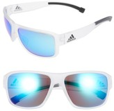 adidas Women's Jaysor 60Mm Sunglasses - Crystal Clear/ Blue Mirror
