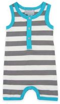 Coccoli Size 0-1M Sleeveless Striped Muscle Baby Romper in Grey/Aqua