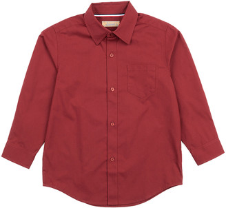 Leveret Boys' Button Down Shirts Maroon - Maroon Poplin Button-Up - Toddler & Boys