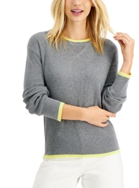 Style&Co. Style & Co Petite Waffle-Knit Thermal Sweater, Created for Macy's