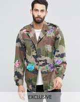 Reclaimed Vintage Military Jacket With Floral Patches