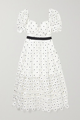 Self-Portrait Grosgrain-trimmed Corded Lace Midi Dress - White