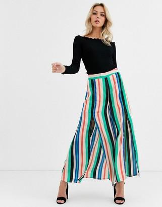 Glamorous split front trousers in stripe
