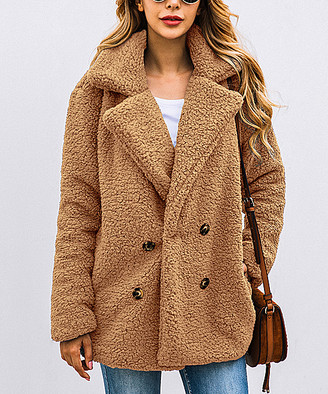 Suvimuga Women's Overcoats Camel - Camel Teddy Peacoat - Women