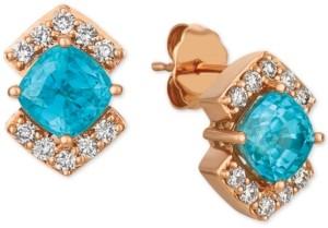 LeVian Le Vian Blue Zircon (2-3/8 ct. t.w.) and Light Brown Diamond (1/3 ct. t.w.) Stud Earrings in 14k Rose Gold