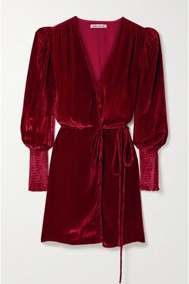 Reformation Boheme Velvet Wrap Dress - Crimson