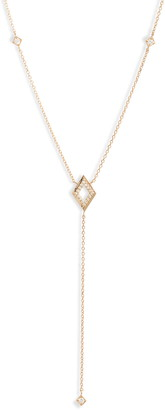 Anzie Cleo Rhombus Pave Diamond Y-Necklace