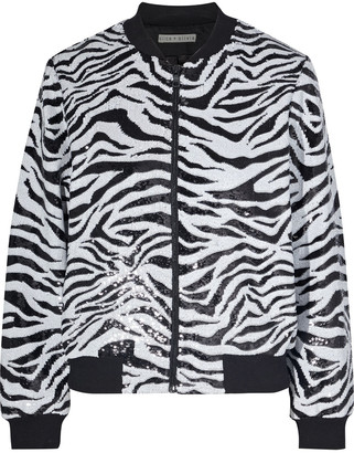 Alice + Olivia Lonnie Sequined Zebra-print Knitted Bomber Jacket