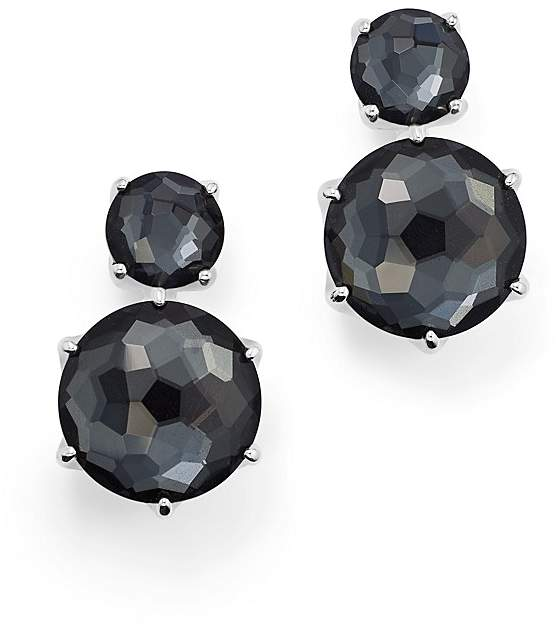 Ippolita Sterling Silver Rock Candy® Two Stone Doublet Drop Earrings in Clear Quartz and Hematite