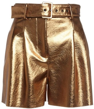 MSGM High Waist Lame Faux Leather Shorts
