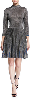 Ted Baker High-Neck 3/4-Sleeve Metallic Knitted Dress