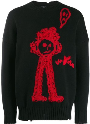 Marcelo Burlon County of Milan Doodle-Stitch Knitted Jumper