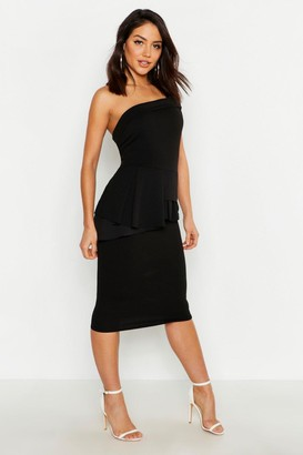 boohoo Off The Shoulder Waist Peplum Midi Dress