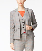 Nine West Plaid One-Button Blazer