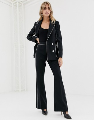 Asos Design DESIGN slim suit flare with contrast piping-Black