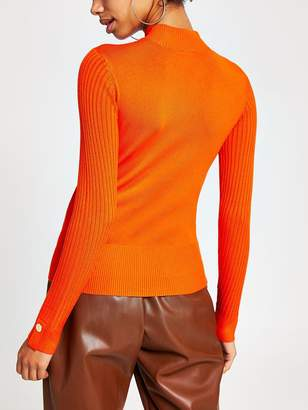 River Island Button Detail High Neck Rib Knitted Top-orange