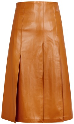 A.W.A.K.E. Mode Brown panelled faux leather midi skirt