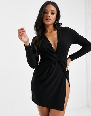 Club L London Club L plunge twist front mini dress in black