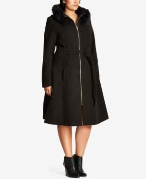 City Chic Trendy Plus Size Miss Mysterious Faux-Fur-Trim Coat