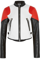 Givenchy Cropped Color-block Leather Biker Jacket - White