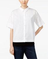 Eileen Fisher Organic Cotton-Blend Elbow-Sleeve Shirt