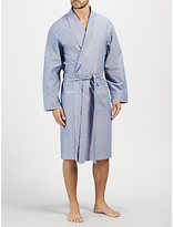 John Lewis Oxford Cotton Piped Robe, Navy