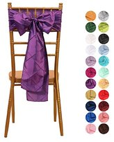VEEYOO 6x108 inch Pintuck Taffeta Chair Sashes Ribbon Bows Cover for Wedding Party Decoration Purple