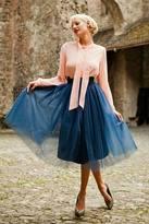Shabby Apple Bloom Skirt Navy Blue