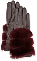 Gala Gloves Leather Banded-Fur Gloves, Burgundy/Chianti