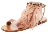 Miu Miu Feather & Satin Ankle-Wrap Sandal