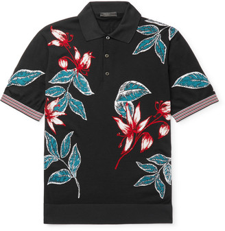 Prada Slim-Fit Wool And Silk-Blend Jacquard Polo Shirt