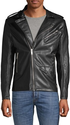 Rnt23 Textured Faux Leather Moto Jacket