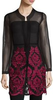Neiman Marcus Embroidered Mesh Open Jacket, Black