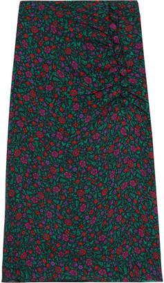 Veronica Beard Minetta Ruched Floral-print Silk Crepe De Chine Midi Skirt