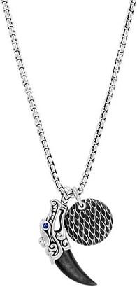 John Hardy Legends Naga Sterling Silver, Silver Sheen Obsidian & Blue Sapphire Pendant Necklace