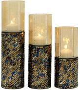New Traditional Jewel-Tone Mosaic Candle Holder 3-piece Set