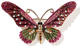 Ella & Elly Women's Brooches and Pins Pink - Pink & Green Crystal Butterfly Brooch