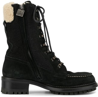 Chanel Pre Owned Shearling Detail Boots