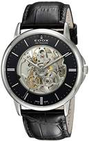 Edox Men's 'Les Bemonts' Swiss Automatic Stainless Steel and Leather Dress Watch, Color:Black (Model: 85300 3 NIN)