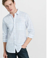 Express fitted abstract plaid going out shirt